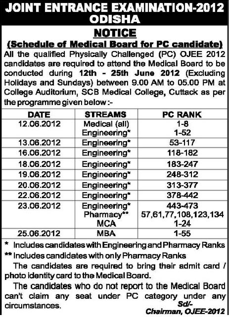 Psu Mba Schedule by Odisha Jee 2012 Counselling Schedule Www Odhishajee