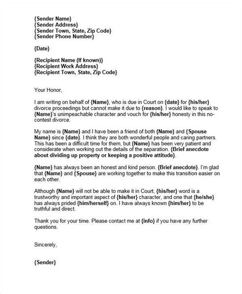 Character Reference Letter For Divorce Court 22 witness letter templates