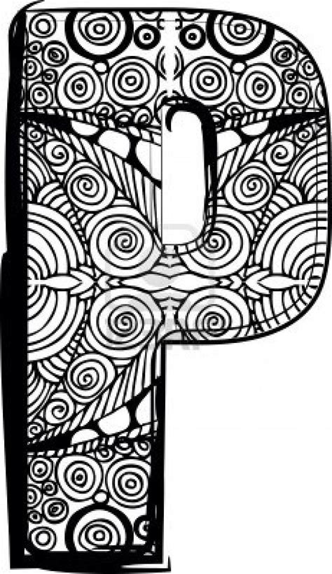 abstract letter coloring pages letter p with abstract drawing letters pinterest