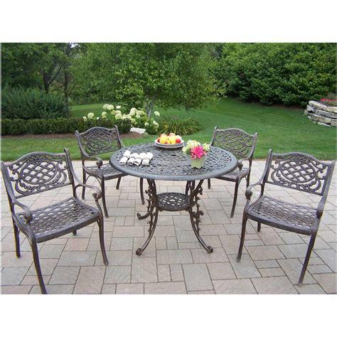 oakland living patio furniture oakland living mississippi cast aluminum 5pc dining set