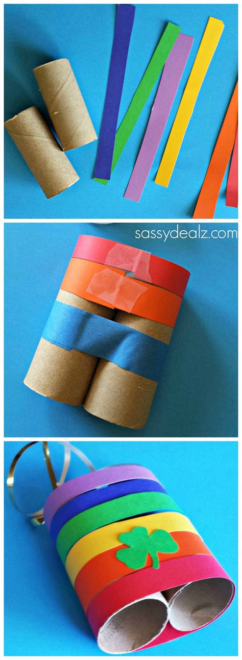 Paper Towel Arts And Crafts - rainbow binoculars made out of toilet paper rolls