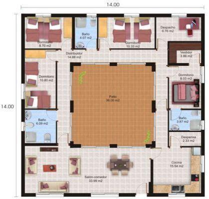 Plan Maison Patio Central by Plano De Casa Con Patio Central Casas De Monta 241 A