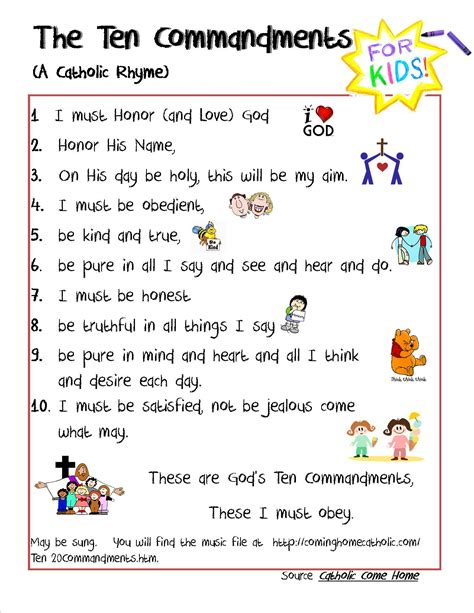 printable version of website catholic 10 commandments for kids credit to this site for