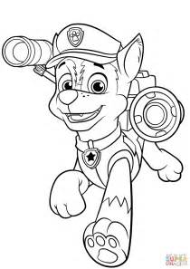 paw patrol super spy chase coloring pages chase with police pup pack coloring page free printable