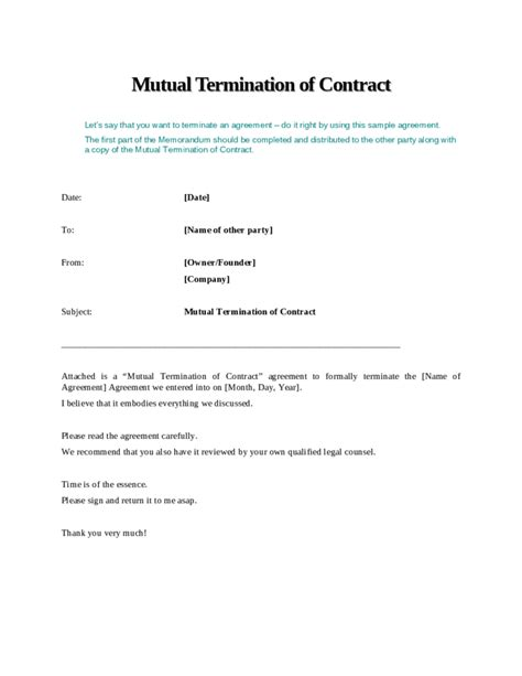 mutual termination  contract