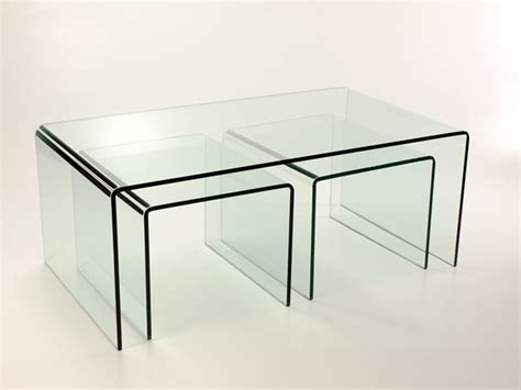 curved glass coffee table new bent curved glass coffee table 2 side tables nest ebay