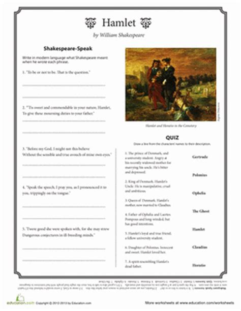 themes in hamlet worksheet hamlet worksheets free worksheets library download and