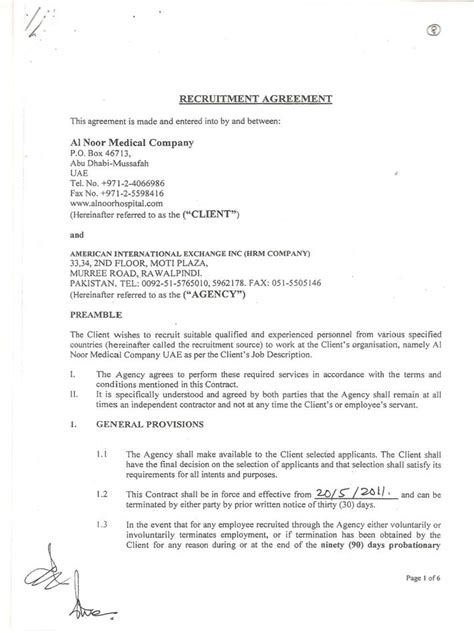 Letter Of Agreement For Healthcare Services Gallery American International Exchange Inc Paksitan