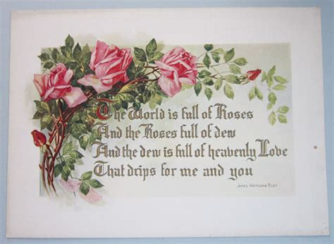 Garden Of Roses Poet by Antique Chromo Pink Roses W Poetry C1900 Our Cottage Garden