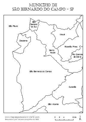 Mapas para colorir - Município de São Bernardo do Campo
