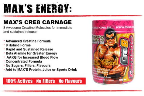 cre 8 creatine cre8 carnage by max s supplements big brands warehouse