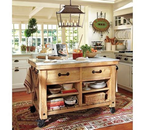 pottery barn kitchen islands hamilton reclaimed wood marble top kitchen island large