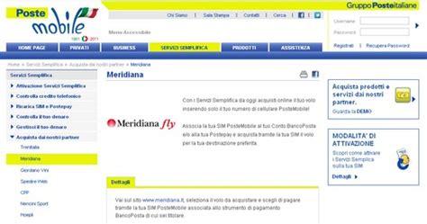 servizio clienti poste mobili postemobile meridiana fly il biglietto aereo si compra