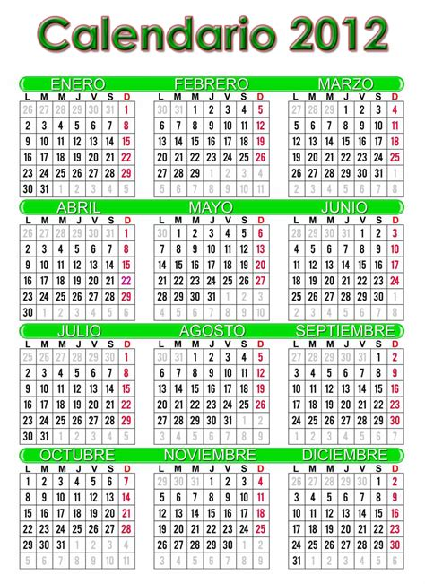 Calendario Grande Calendario 2012 Espa 241 Ol Grande Imprimir Universo Guia