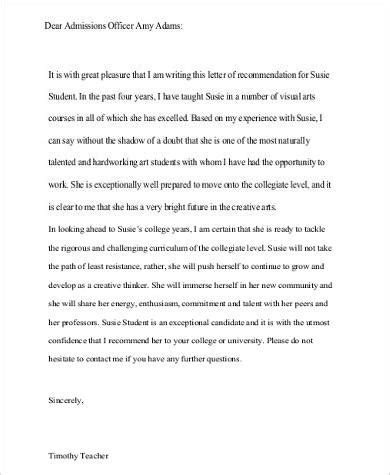 Recommendation Letter For College Admission Pdf Sle Recommendation Letter For College 8 Exles In Word Pdf
