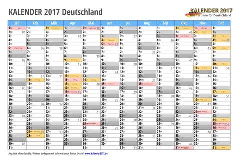 Kalender 2017 Tage Kalender 2017 Mit Feiertagen Ferien Kalenderwochen