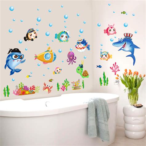 kids bathroom wall stickers zs sticker 42 x 140 cm cartoon fish wall stickers bathroom