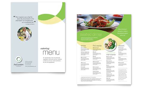 menu card design layout food catering menu template design