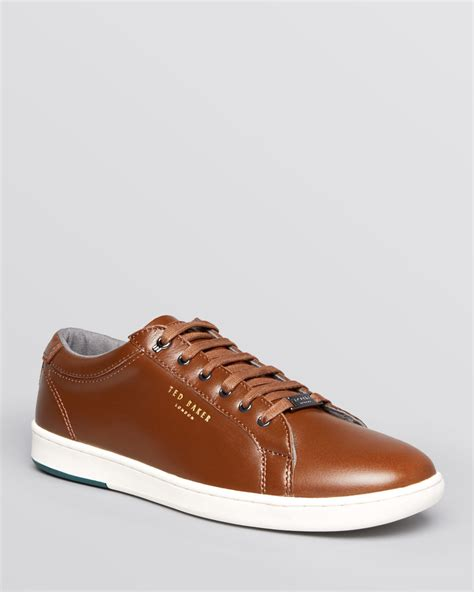 leather sneakers for ted baker theeyo leather sneakers in brown for lyst