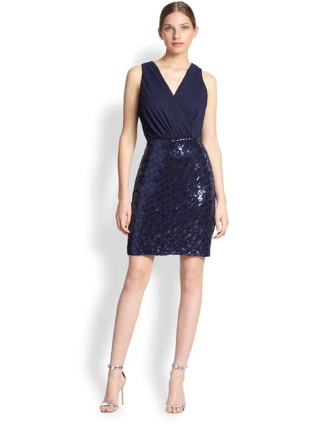 Chiffon Sequin Pouch By Bags To Die For by Lyst Laundry By Shelli Segal Chiffon Sequin Dress In Blue