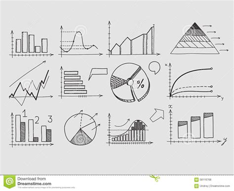 doodle element guide draw doodle elements chart graph concept stock