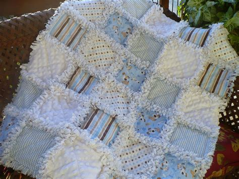 baby boy rag quilt blue and brown puppies dots and stripes
