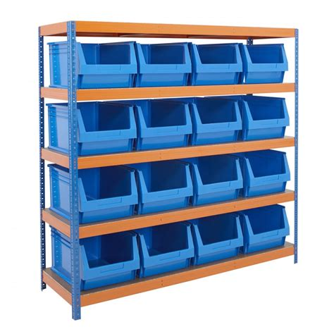 heavy duty 300kg 400w x 600d parts storage bin shelving