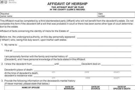 Affidavit Of Heirship Download Free Premium Templates Forms Sles For Jpeg Png Pdf Affidavit Of Heirship Template