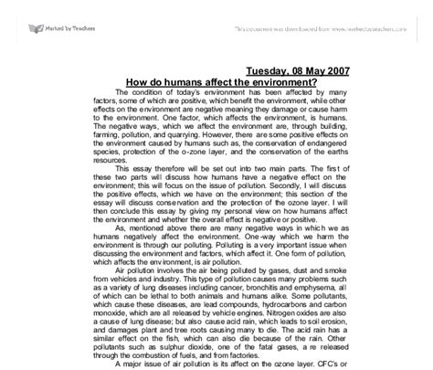 Environmental Protection Essay by How Do Humans Affect The Environment A Level Geography Marked By Teachers