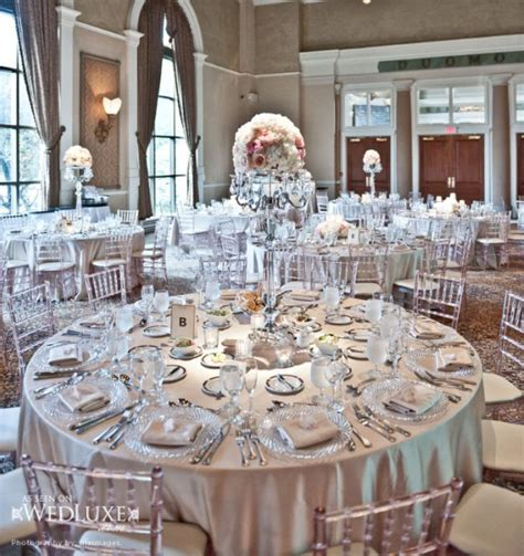 Luxury white and silver wedding reception theme ideas