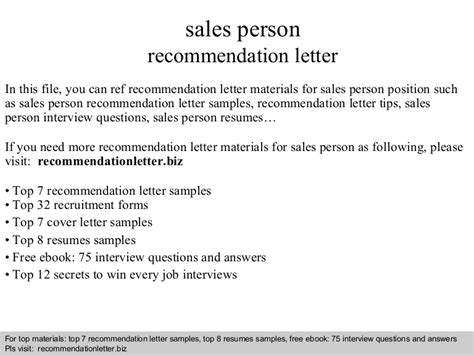 sle of recommendation letter sales person recommendation letter