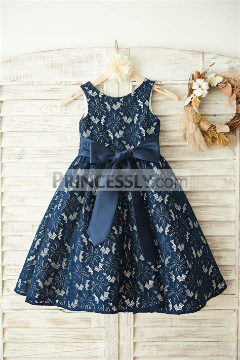 Dress Navy Flower With Belt navy blue lace ivory satin lining flower dress with sash avivaly