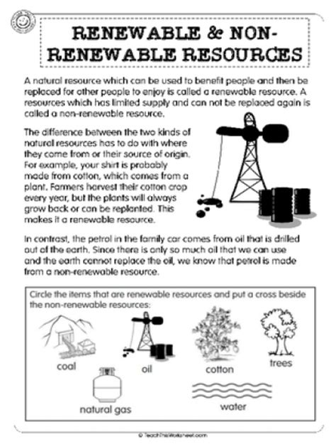 Renewable And Nonrenewable Resources Worksheet by Teach This Worksheets Create And Customise Your Own