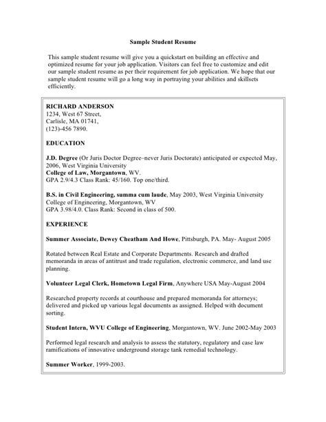 resume format for degree students free sle student resume