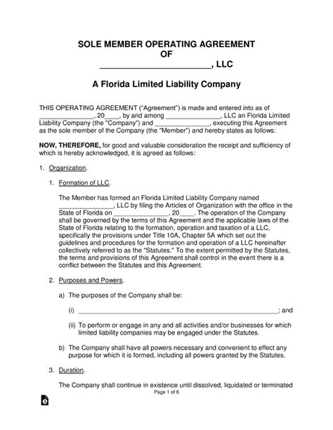 Florida Single Member Llc Operating Agreement Form Eforms Free Fillable Forms Florida Llc Articles Of Organization Template