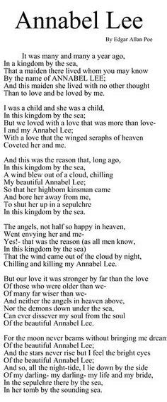 printable version of annabel lee image result for picture of sylvia plath famous poems