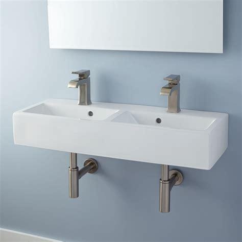 Lowen double bowl porcelain wall mount bathroom sink