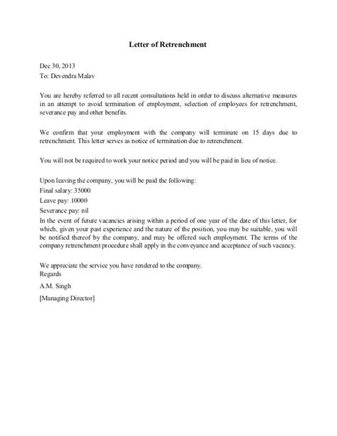 retrenchment letter template free retrenchment letter template south africa