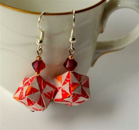 Origami Cube Ring - paper cube earrings geometric origami jewelry