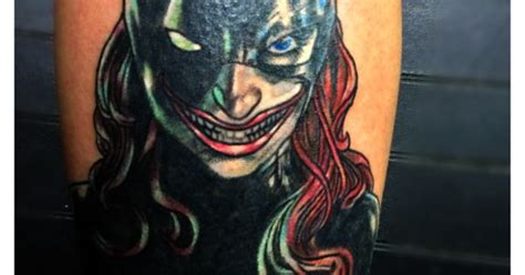 jokers tattoo and body fx calgary my calf piece batgirl with a joker face tattoo by marc
