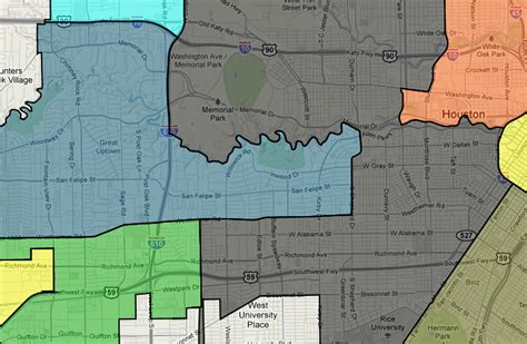 houston district j map houston redistricting river oaks and st s school