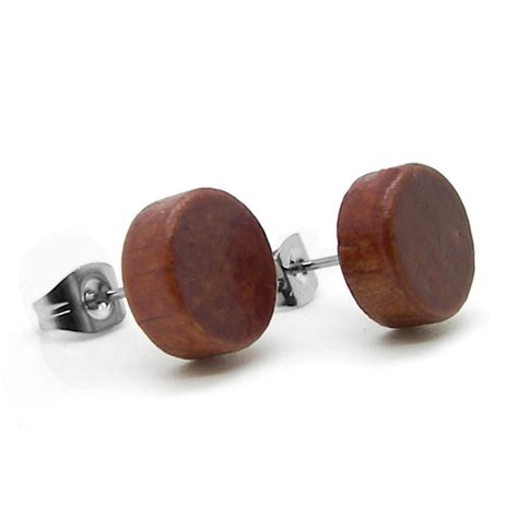 1 pair earrings plugs button magnetic timber