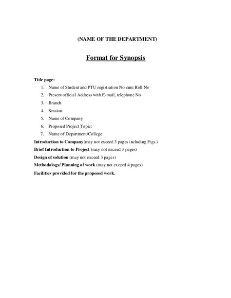 Synopsis Format For Mba Hr Project by Mba Project Synopsis Format Autos Post