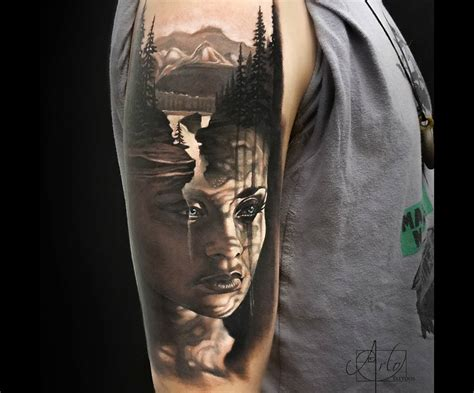 nature tattoo nature portrait arm best design ideas