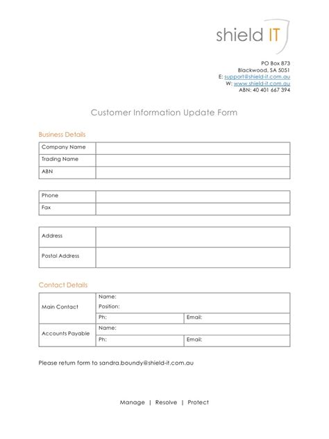 Update Contact Information Form Template by Customer Information Update Form By User Customer