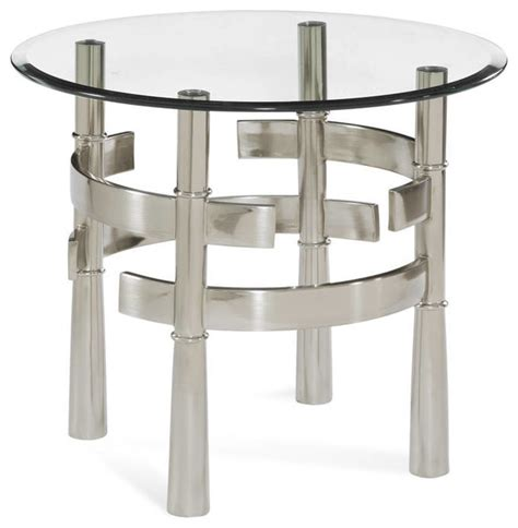 brushed nickel end table contour brushed nickel metal glass end table