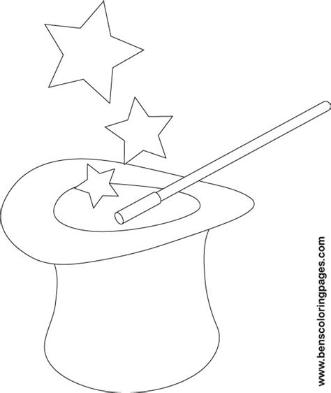 Coloring Pages Magician Hat | magic hat coloring pages