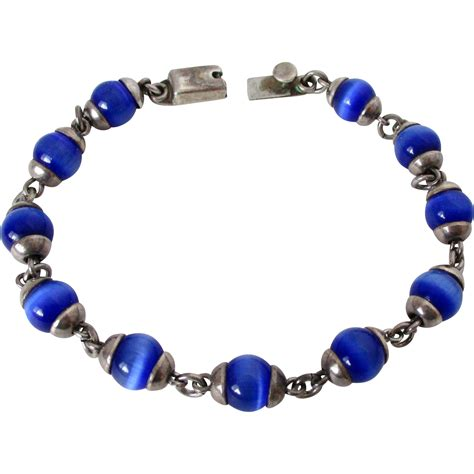 Royal Blue Cats royal blue cats eye glass mexican silver marked bracelet