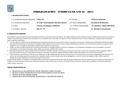 programacion de cta anual 2015 programacion curricular programacion curricular de cta 2 176 ccesa1156