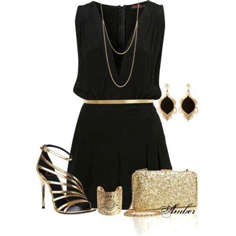 black dress  gold accessories fashion